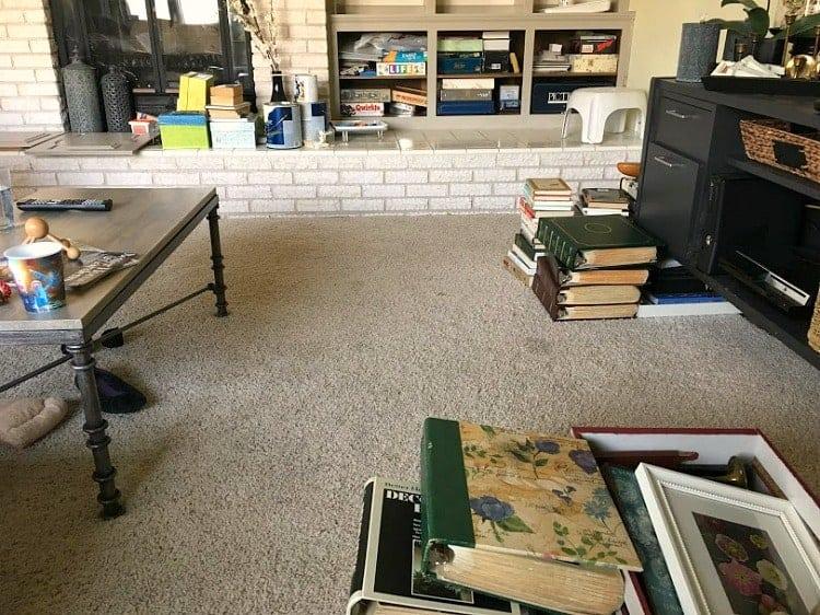 Piles of stuff, mid-organizing