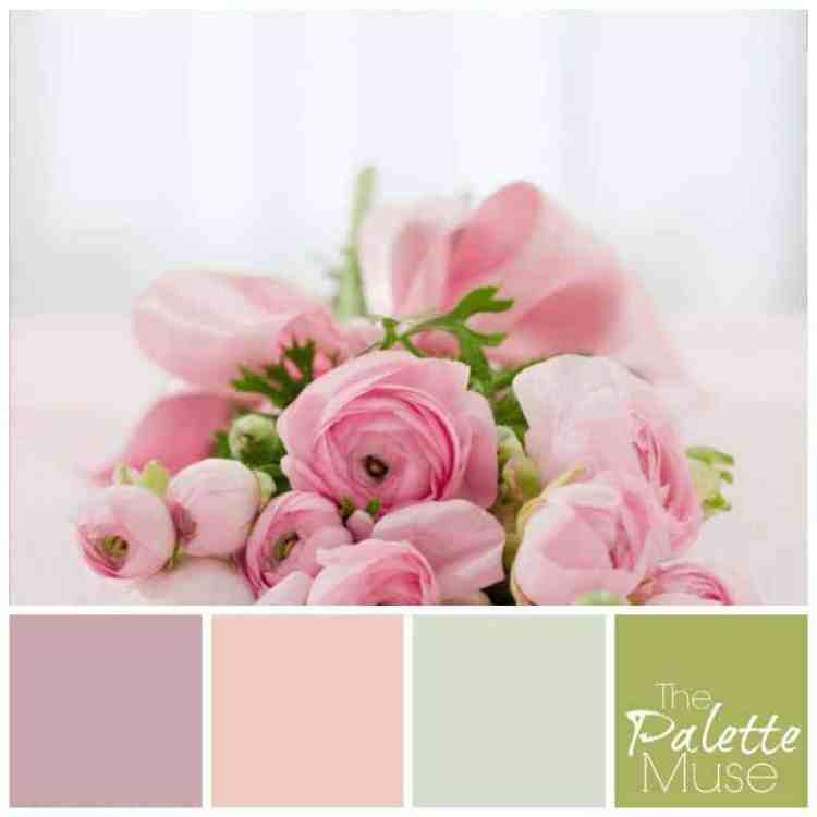 This pretty pink palette makes me smile, and I hope it does the same for you! Delicate pinks, gray and green make for a happy flowery bouquet.