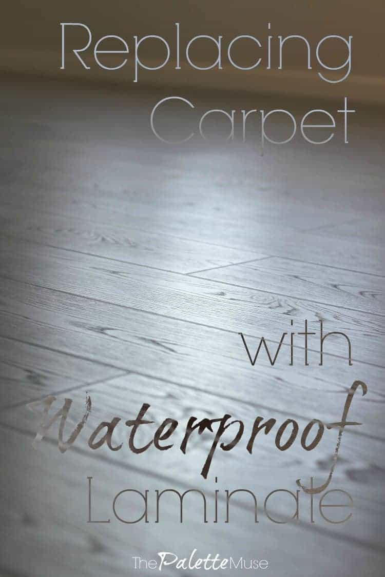 Don't live with gross carpet anymore! Waterproof laminate can go anywhere in your house, and you can install it yourself. #DIYproject #newfloor #waterproof #laminate #thepalettemuse