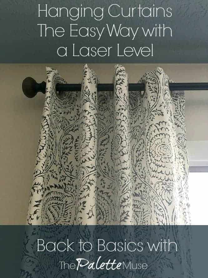How to make hanging curtains easier with a laser level. #howto #curtains #diydecor