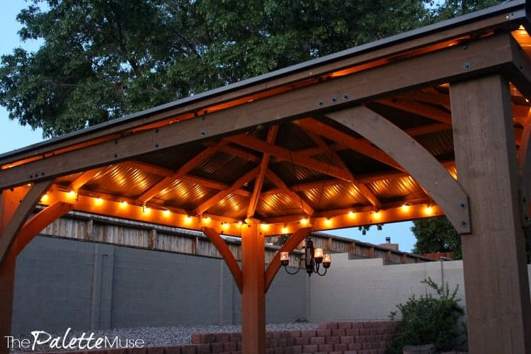 Strand lights really amp up the mood lighting under this gazebo. #patiomakeover #stringlights #moodlighting