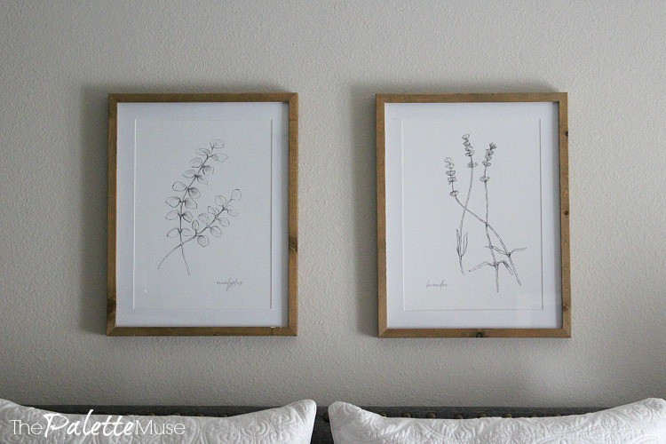 Eucalyptus and Lavender drawings hanging above head board.