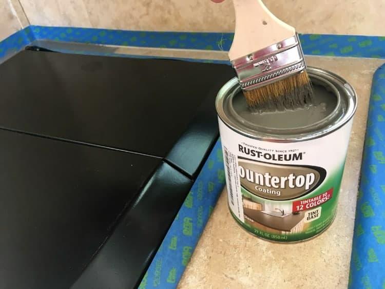 Painted countertops with Rustoleum's countertop coating paint.