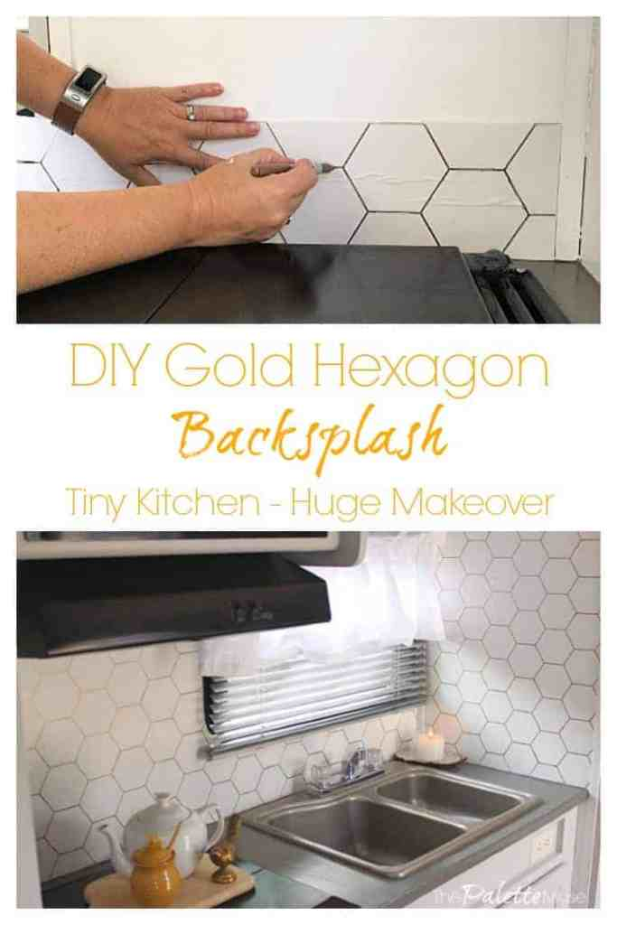 A tiny camper kitchen gets a huge makeover for almost no budget with this easy DIY Gold Hex backsplash project. #goldhexagon #backsplash #stencil