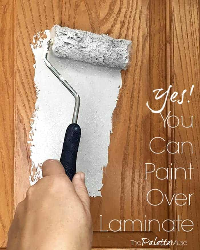 You can totally paint over laminate cabinets, if you use the right products! See how easy it is, with no sanding. #paintlaminate #paintedcabinets #kitchenmakeover