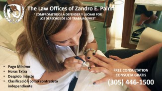 trabajadores clasificados como contratistas independientes. misclassification. The Palma Law Group. Zandro Palma attorney. manicurista