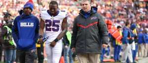 LeSean McCoy stretches during the National Anthem