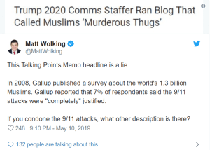 "Trump's campaign staffer accused of being anti-Muslim for calling 9-11 jihad supporters ""murderous thugs"""