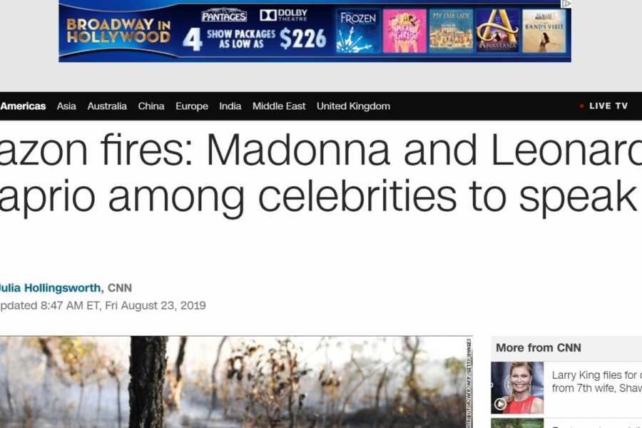 CNN buries the fact Celebs pushed Fake News over Amazon Forest fire