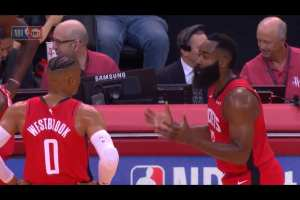 Harden and Westbrook get into heated argument on court