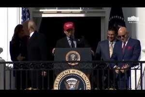 WATCH: MLB champ wears MAGA hat to White House