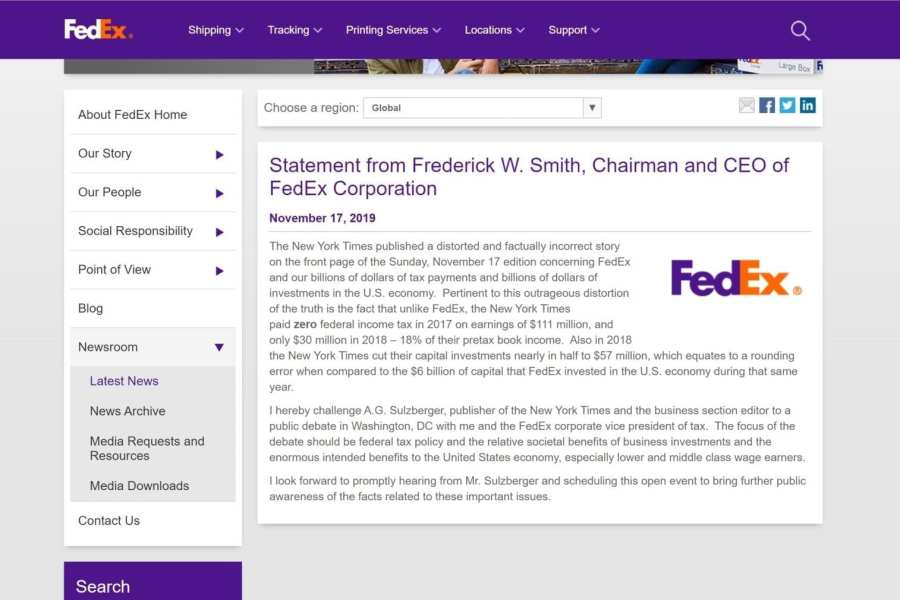 NYT runs from Tax debate with Fed Ex