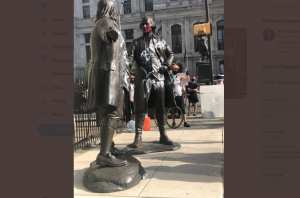 George Washington Statue Defaced By Rioters
