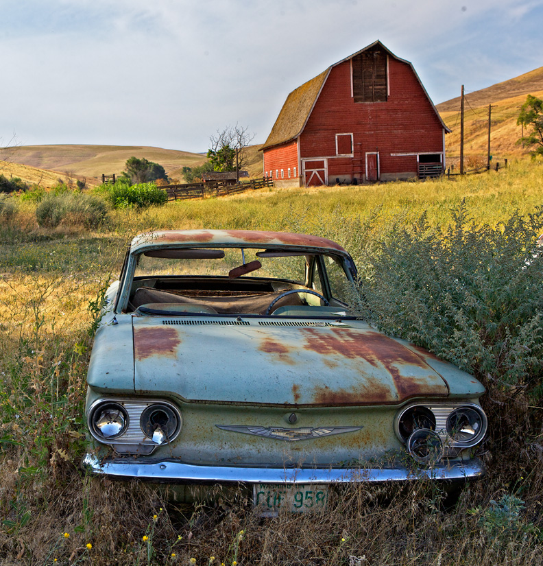 Corvair with Barn - Copyright Gary Hamburgh 2009 - All Rights Reserved