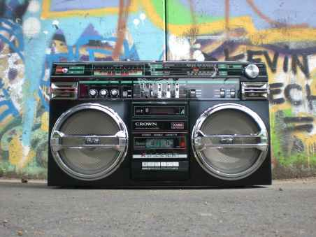 black and silver cassette player