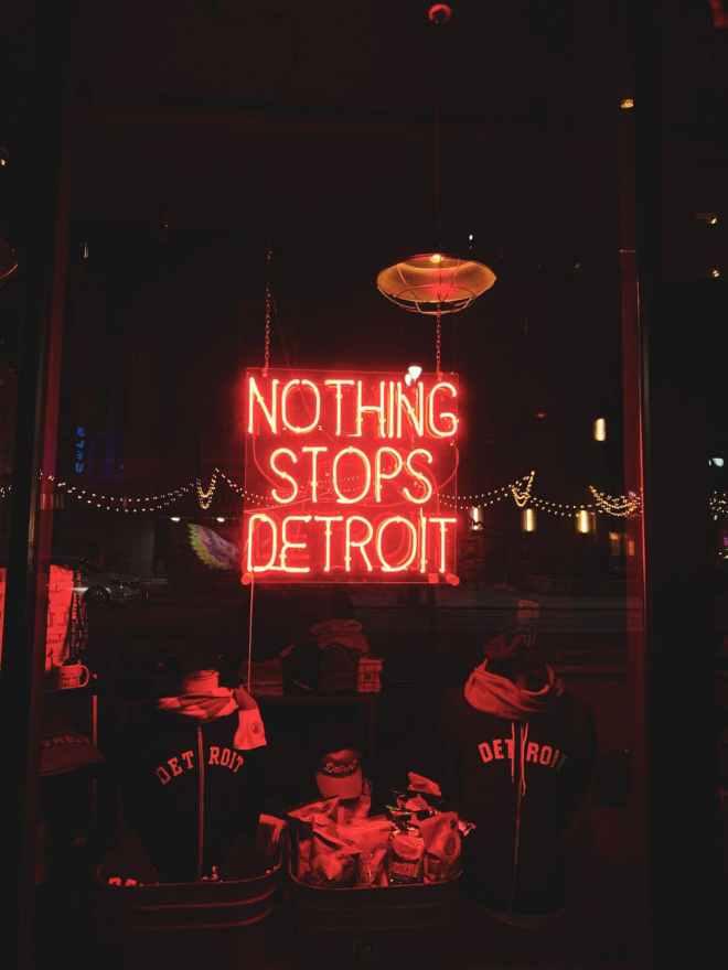 led signage on a storefront