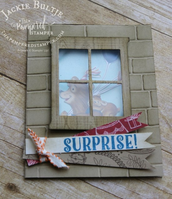 What a great card for a kid! Look through the window to see Bear rushing off to the birthday party.