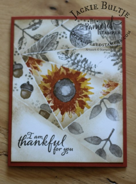 Vintage Leaves and Painted Harvest are used to make this retiform card with a pop of colour.