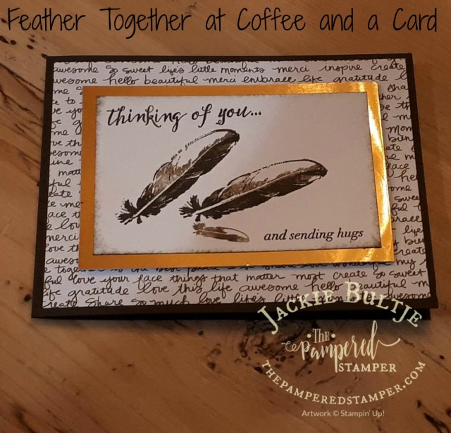 Thinking of You and Sending hugs is just perfect with these feathers, great for a man or woman.