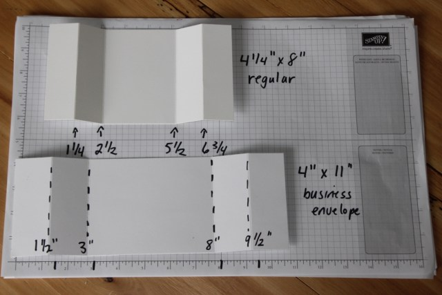measurements for two different sized bridge fold cards
