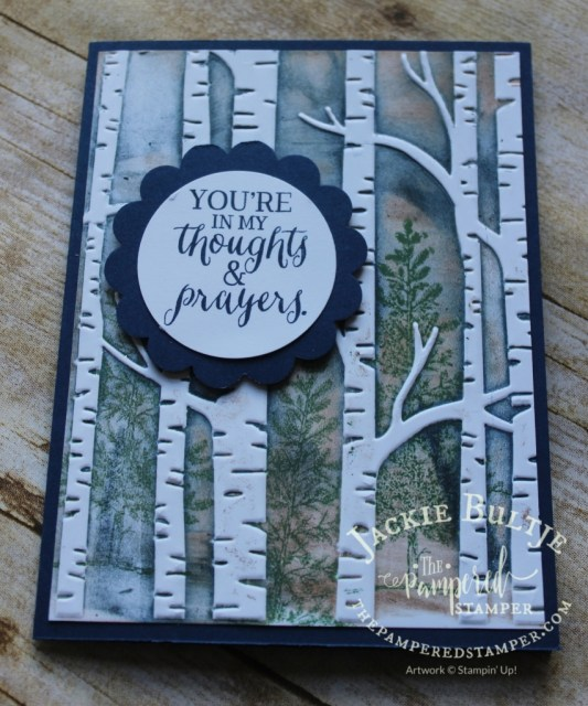 A more intense card with darker ink on the Woodland embossing folder.