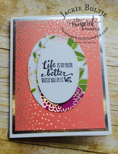 Clean and simple card focusing on the Sweet Soiree specialty designer series paper #145564