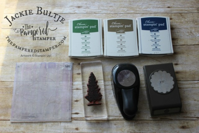Woodland embossing folder with Lovely as a Tree, three ink colours and two punches