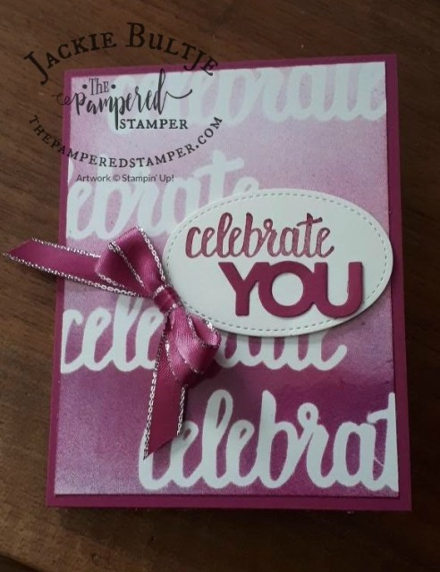 I used the Celebrate thinlets and the Amazing You stamp set with berry burst metallic edge ribbon