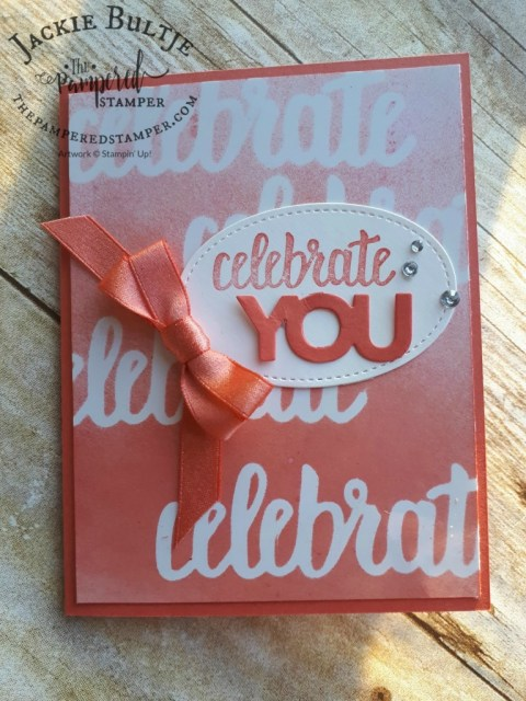 This card adds a third free saleabration item: ribbon