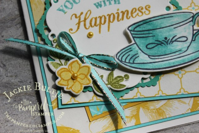 Bermuda bay an crushed curry for a cheerful happy card using Time for Tea.