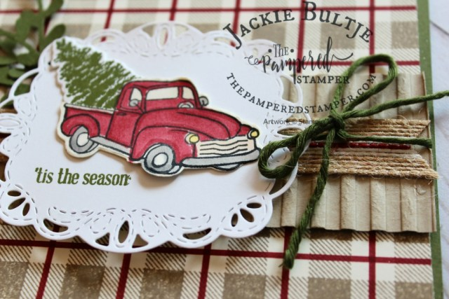 Stitched Label framelits, buffalo check and Farmhouse Christmas combine for a beautiful card. Inspired by Lorie Heiling.
