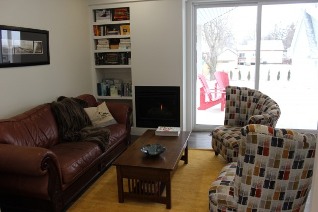 My living area is smaller and not quite completed but ever so cozy with the gas fireplace.