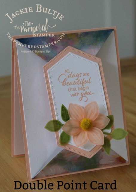 Double Point card in petal pink and Perennial Flowers paper