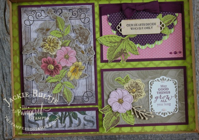 Good Things Grow closeup with gold accented window sheet overlay. Only four kits available for this one.