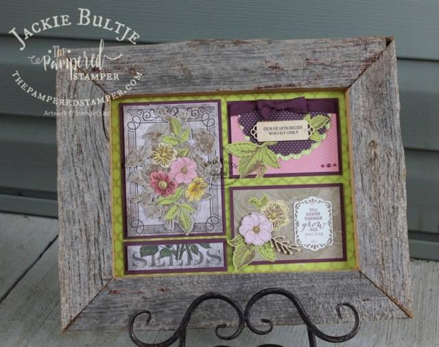 Good Things Grow Paper Pumpkin kit turned into a framed art sampler
