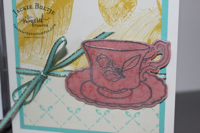 Tea cup embossed on vellum for Mother's Day tea cards