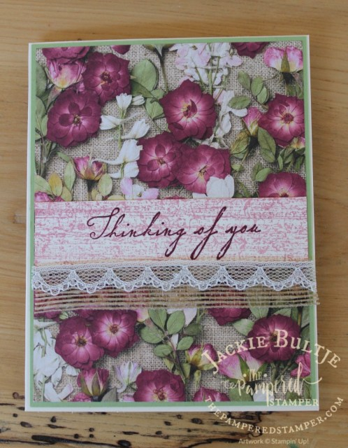 For this card I pulled out the burlap theme from the background paper and added lace for a vintage feel. The pear pizzazz brightens it up a bit.