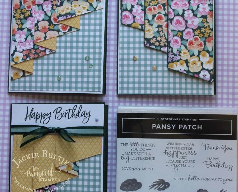 Pansy Patch Drapery Fold Cards