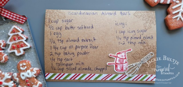 Handwritten homemade recipe card using What's Cookin' bundle from Stampin'Up.