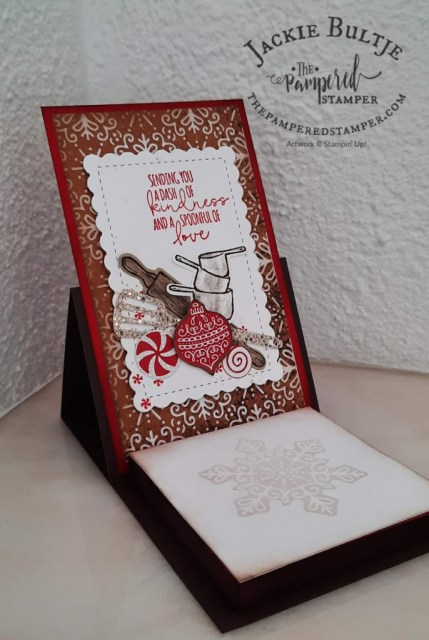 post-it note holder using Gingerbread & Peppermint paper and What's Cookin' bundle by Stampin'Up!
