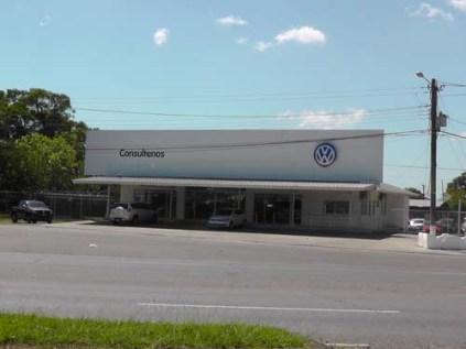 Volkswagon is down the street