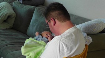 Hanging out with dad