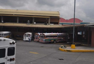 The diablo rojos (red devils - former US school buses, now dangerous rolling works of art in the city) are still in town. They are replacing them with modern nice buses, but we saw a lot of them still on the road as we left Panama City.