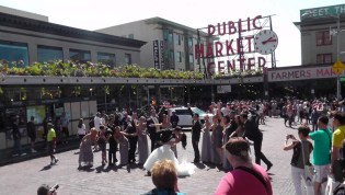 Next we went to the Pike Place market. A wedding party was out front taking photos.