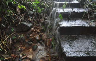 There were waterfalls coming down the steps.