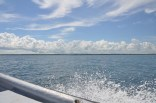 We make our way back to the mainland enjoying the beautiful sky and the water wake splashing alongside the boat.