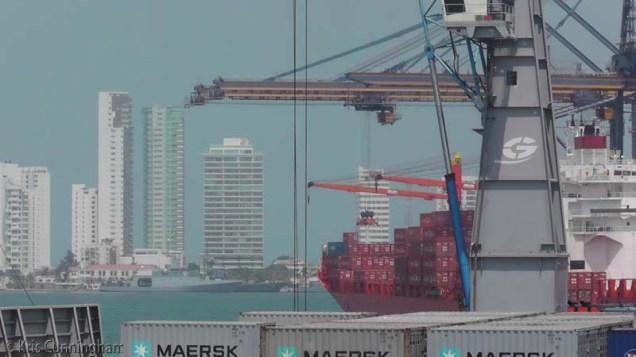 The container port, with the city behind.