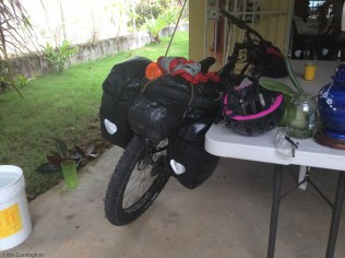 Pari's heavier mountain bike also packed and ready to go.