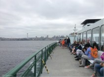 It is a large boat with plenty of places to sit outside and inside, and space for a lot of cars below.