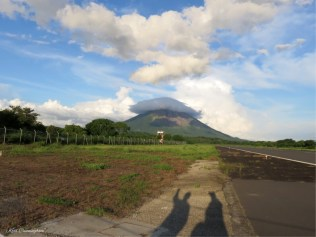 Back at the airport, the volcano was wearing a hat and we were playing with shadows